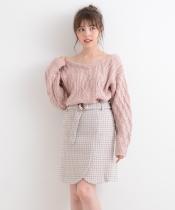 【WEB限定価格】○千鳥チェックラップ風ミニスカート