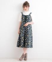 【WEB限定価格】コーデュロイ花柄レースアップワンピ