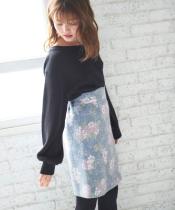 ○プードル花柄台形スカート