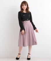 【WEB限定価格】○ベルト付膝丈フレアースカート
