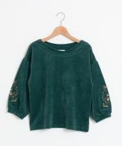 袖刺繍コーデュロイプルオーバー