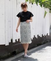コードレースサイドスリットタイトスカート