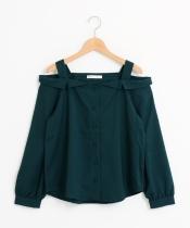 【WEB限定価格】シャツ衿オフショルブラウス