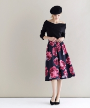 グログランビッグフラワーフレアースカート