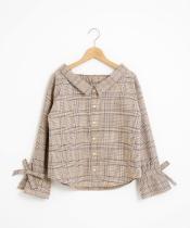 【WEB限定価格】チェック柄袖リボンシャツ
