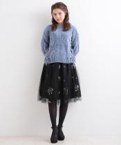 フラワー刺繍チュールスカート