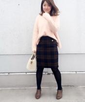 ウールシャギーチェックタイトスカート