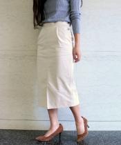 コーデュロイウエストボタンタイトスカート