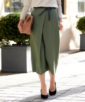 ベルト付きラップスリットタイトスカート