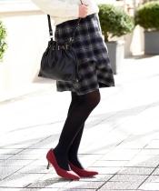 シャギーチェック台形スカート