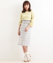 ○ヘムフリルチェックIラインスカート