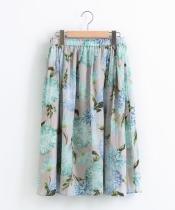サテンフラワープリントギャザースカート
