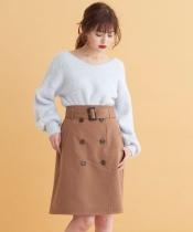 トレンチ風ひざ丈スカート