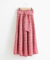 ベルト付チェックロングスカート