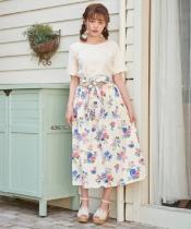コットン大花柄ロングスカート
