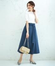 リボンベルト付きラップ風ロングスカート
