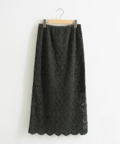スカラップレースロングタイトスカート