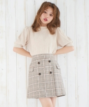 チェック柄フラップAラインスカート