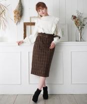 チェックIラインスカート