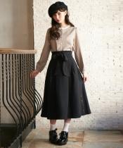 サイドボタンリボン付スカート