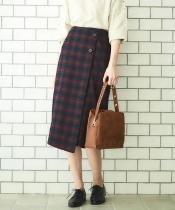 モールチェックボタンラップタイトスカート