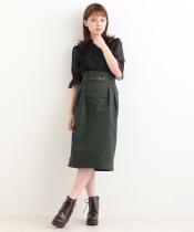 フェイクレザーベルトIラインスカート
