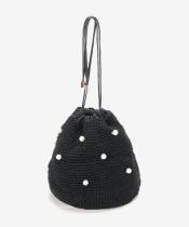 パールツキ手編み巾着バッグ