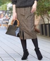 ツイードベルテッドイージータイトスカート