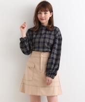 配色ステッチポケットスカート