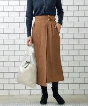 スエードラップロングストレートスカート