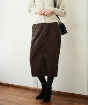 ワイドコーデュロイロングタイトスカート
