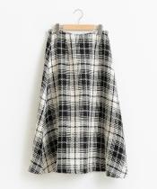 ビンテージツイードチェックフレアスカート