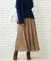 フラワープリントプリーツロングスカート