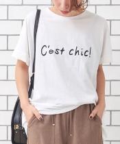 異素材コンビロゴTシャツ