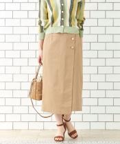 コットンサテンラップライクタイトスカート