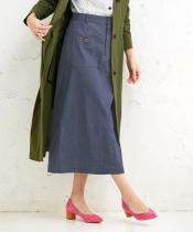 デニムライクロングタイトスカート