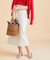 eclat ドットロングタイトスカート