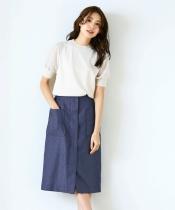 リネンライクフロントジップスカート