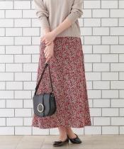 小花プリントAラインロングスカート