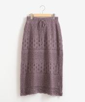 スカシ柄編みニットスカート