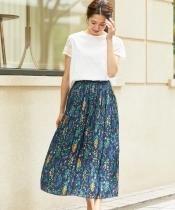 フラワープリーツロングスカート