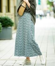 カラーフラワープリントAラインロングスカート