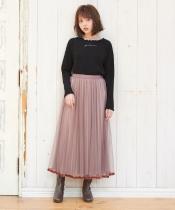 チュール×ベロアプリーツスカート