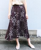 eclatフラワー×ドット柄スカート