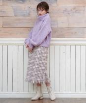 裾フリンジチェックIラインスカート