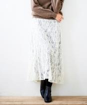 eclatフラワーレースフレアスカート