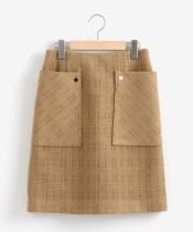 レース×ニットメルトンビッグポケットスカート