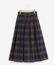 タックギャザーチェックロングスカート