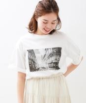 ワイドシルエットPhotoプリントTシャツ
