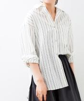 コットン麻オーバーシャツ